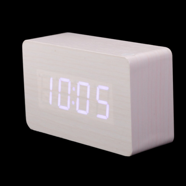 White LED Wood Wooden Digital Alarm Clock DC input/USB/ for sale