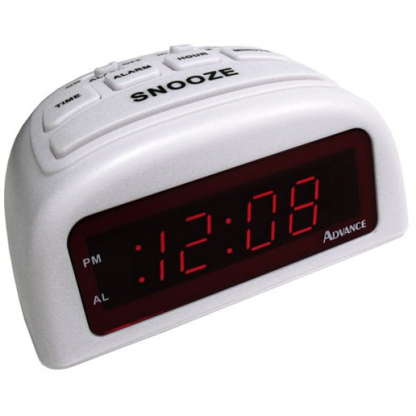 Geneva Clock Company 3137AT 0.6-Inch LED Digital Alarm Clock, White ...