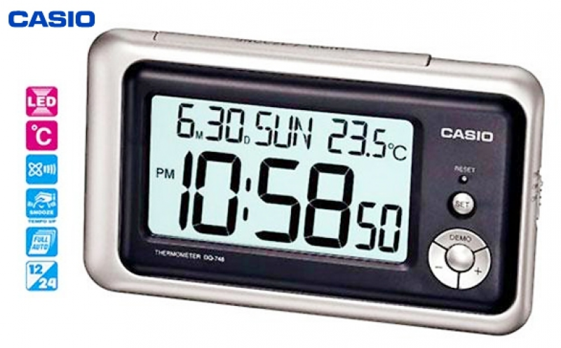 CASIO Digital Travel / Desk Date Time Temperature LED Clock DQ-748-8D ...