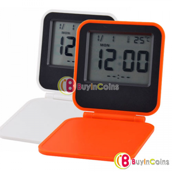 Digital Travel Alarm Clock and Calendar with EL Backlight Thermomete ...