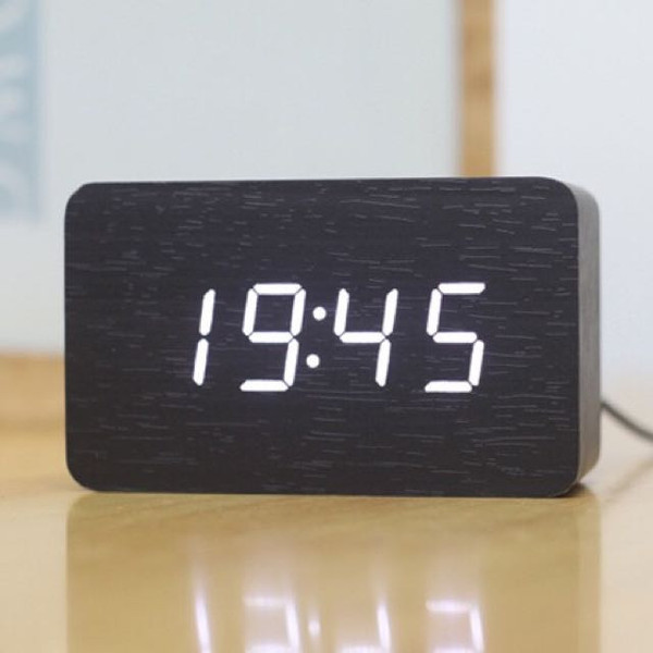 Rectangle Small Digital Wooden Clock (Black)