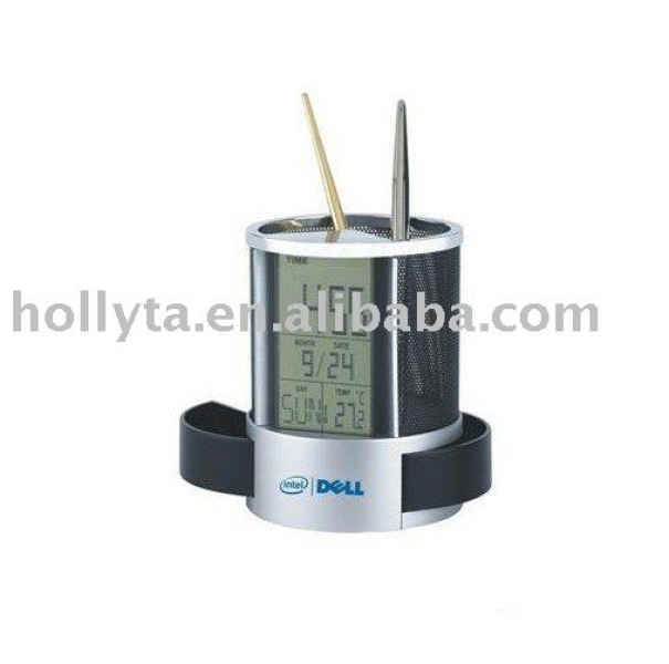 Desk clock/table clock/digital clock with penholder, View Desk clock ...