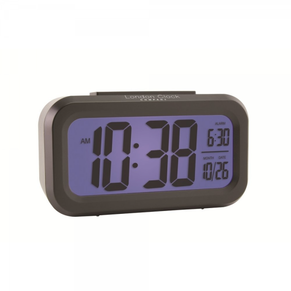 ... Clock Co › London Clock Co Black Rubberised Desk Digital Alarm Clock