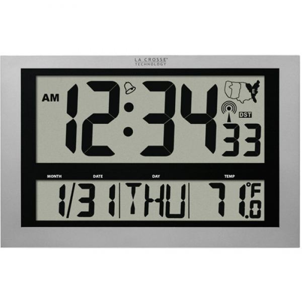... Crosse Technology Jumbo Atomic Digital Wall Clock with IN Temperature