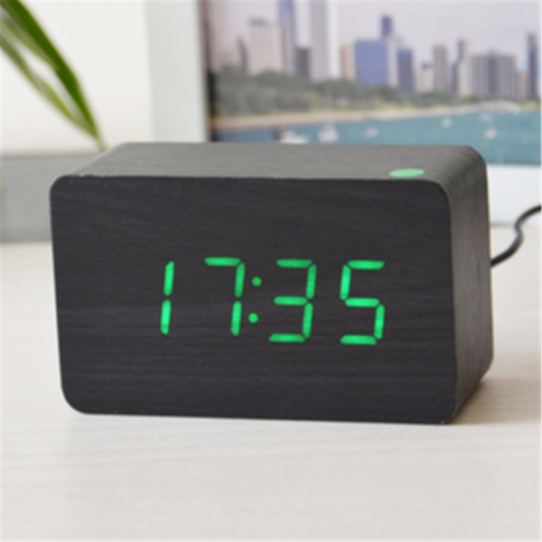 office desk digital Alarm clocks Smooth wood sounds control clock ...
