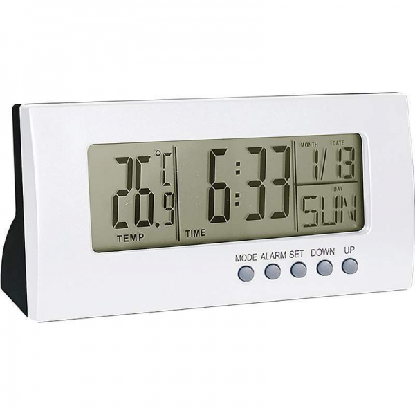New Light Silver Color Home Office Desk Digital Alarm Clock Calendar ...