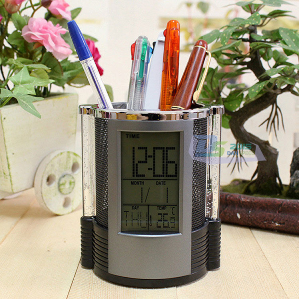 Office Digital LCD Desk Alarm Clock Mesh Pen Pencil Holder Time Temp ...