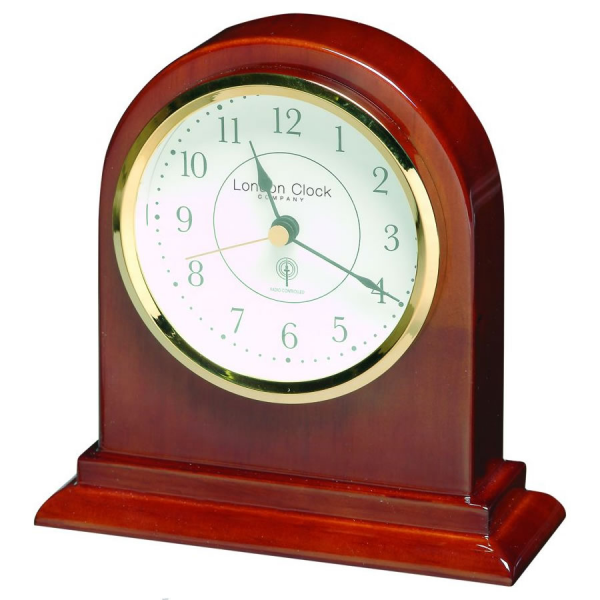... Mantel Clocks - Radio Controlled Arch Top Dark Wood Mantel Clock