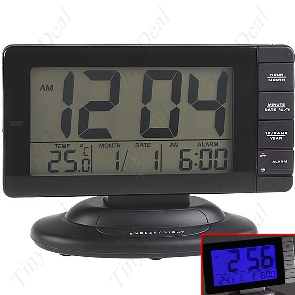 Anti-slip Base Wide Flat Screen Alarm Clock with Calendar+ ...