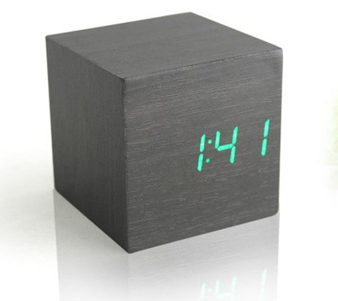 ... LED Black Wood Wooden Digital Alarm Clock Desktop Clock Cube Pretty