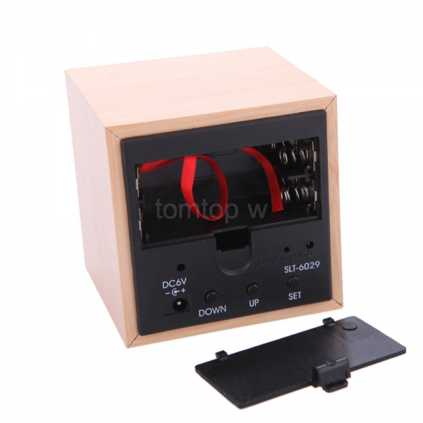 ... New Voice Control Square LED Wood Alarm Digital Desk Clock Thermometer