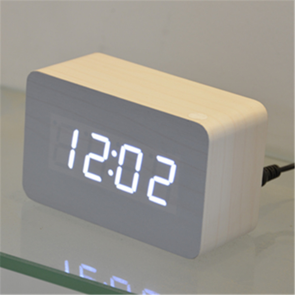wood Wooden digital LED Clock bedroom Mini square desktop clocks ...