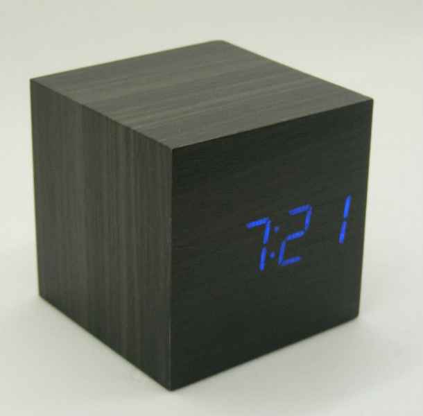 Square Wooden Cube Thermometer Wood Digital Desk Voice Alarm Clock ...