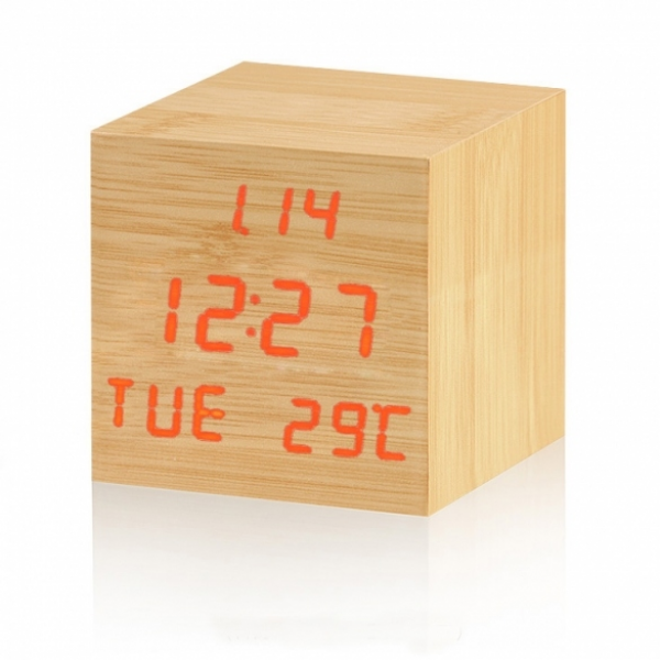 Red LED square digital wooden wood alarm clock desk desktop ...