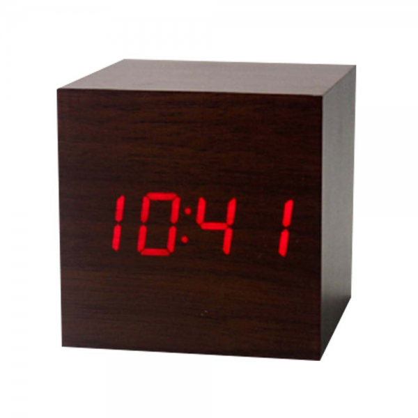 Wood Square Red LED Alarm Digital Desk Clock Wooden Thermometer USB ...