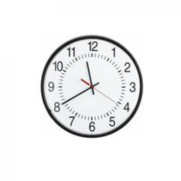 VALCOM VC-V-A2416 16 Round Wired Analog Clock- Black- Sur