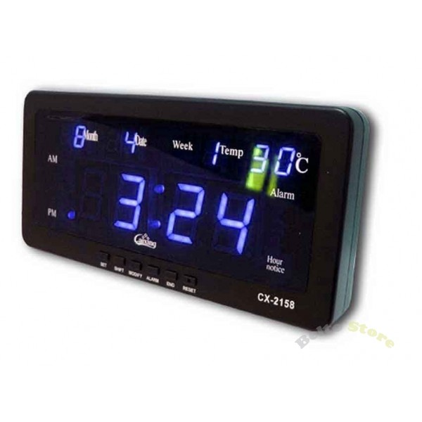 LED DIGITAL CLOCK CX-2158 BLUE - Belto Store