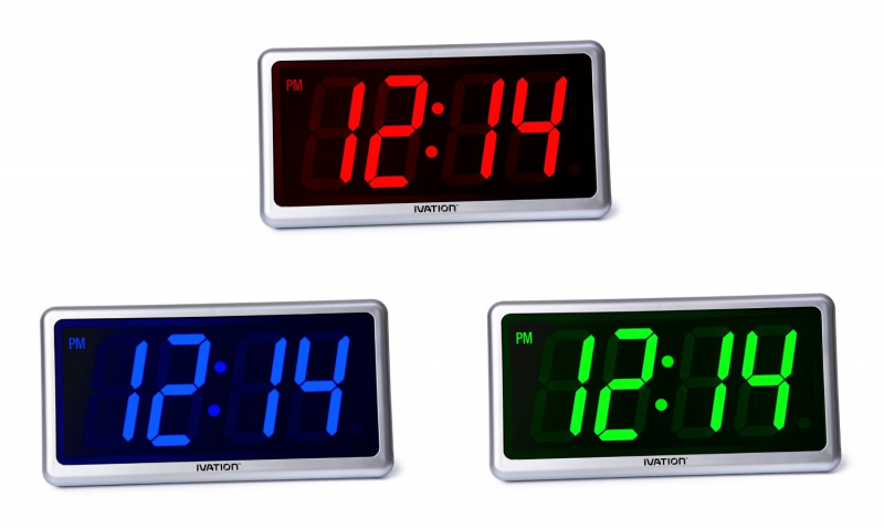Big Time Digital LED Clock - Table or Wall Clock - Dimmable LED ...