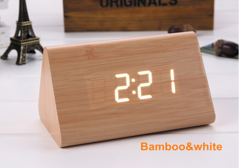 LED Digital Alarm Clocks Table Wooden Clock Electronic Desk Clock ...