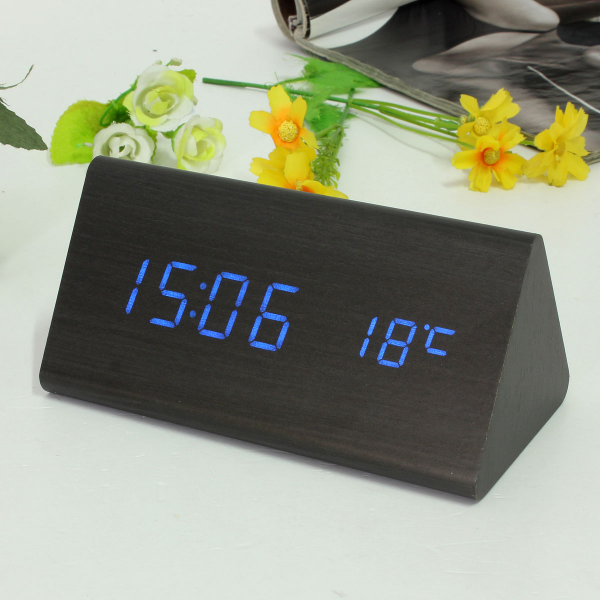 Wood-Wooden-Digital-LED-Alarm-Clock-Triangular-Table-Desk-Display-Temp ...