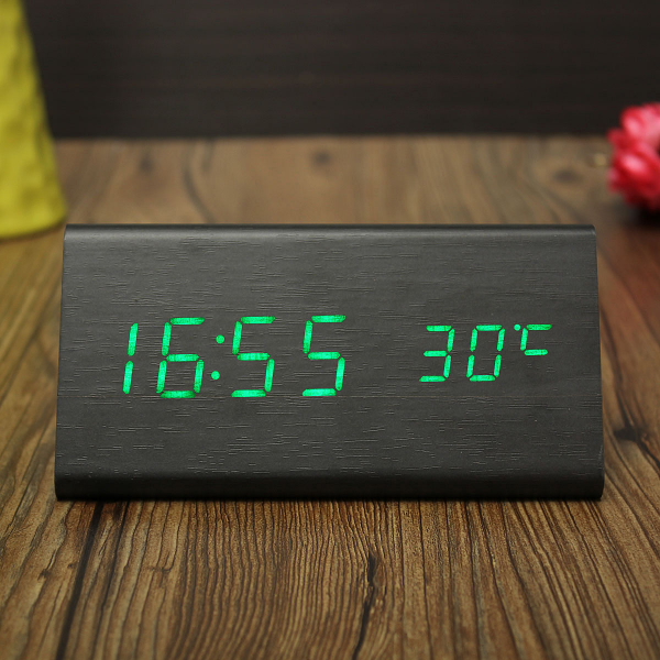 Triangular-Wood-Digital-LED-Alarm-Table-Desk-Clock-Display-Temp-Time ...
