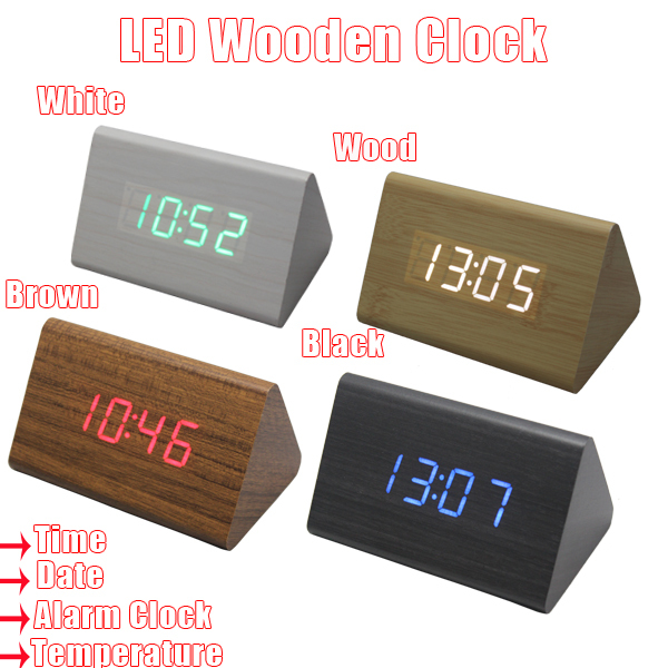 1pcs LED Wood Clock & Digital Desk Clock & Creative Wooden Alarm Clock ...