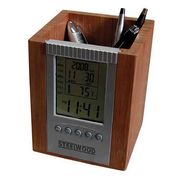Bamboo digital desk caddy with clock, features, day, date, time and ...