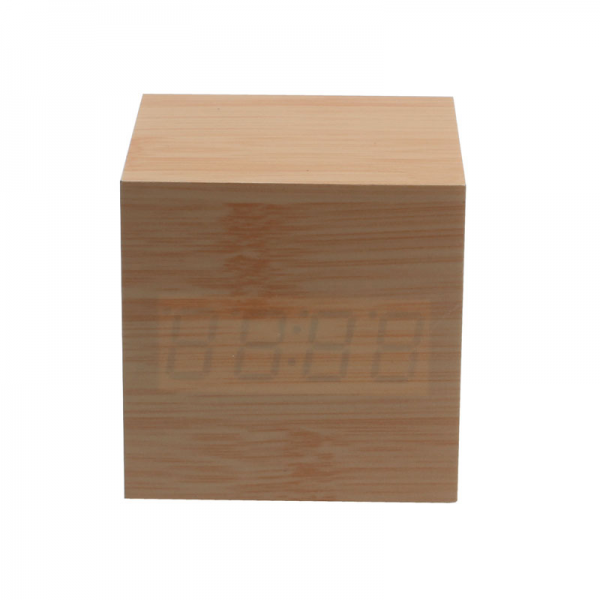 ... contracted design style wooden alarm clock alternately display time