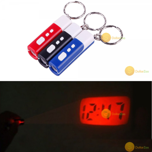 Mini Keychain Projection LED Light Laser Time Digital Gadget Clock ...