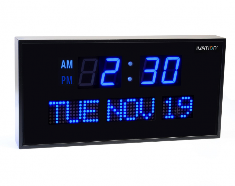 Oversized Digital Blue LED Calendar Clock with Day and Date - Shelf ...