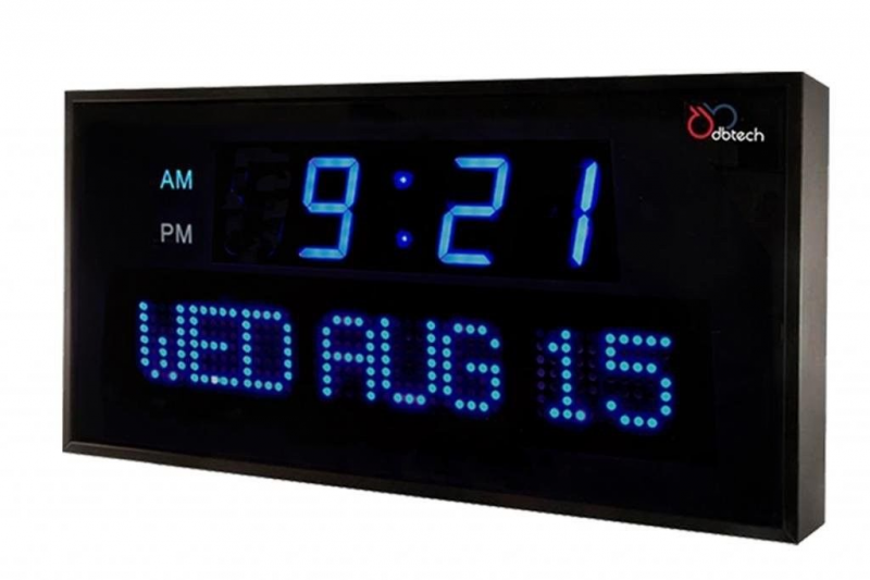 Large Digital Clock 16in LED Calendar Time Date Shelf Wall Mount Bad ...
