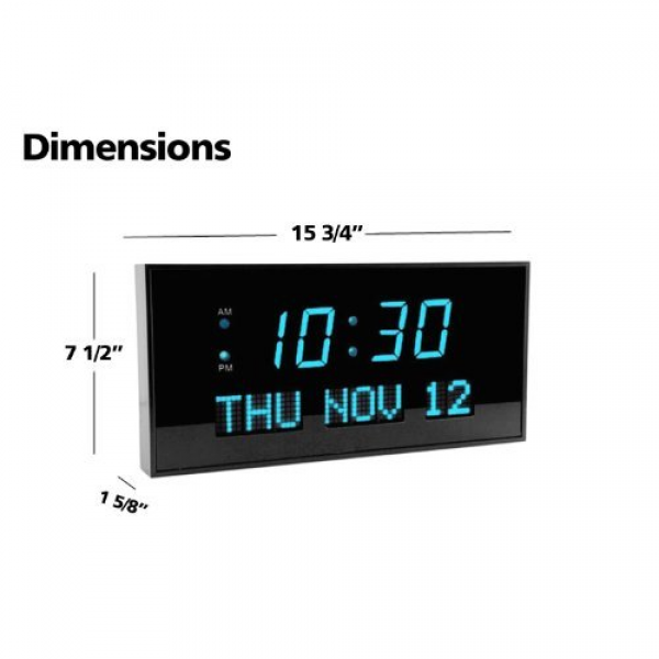 Dbtech Big Digital Blue Led Calendar Clock With Day And Date - Shelf ...