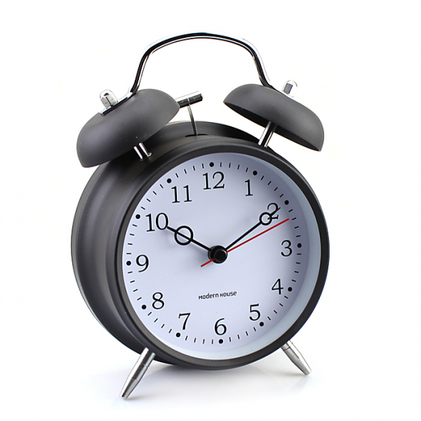 Modern Simple Small Ring Bell Clock Metal Table Desktop Alarm Clock ...