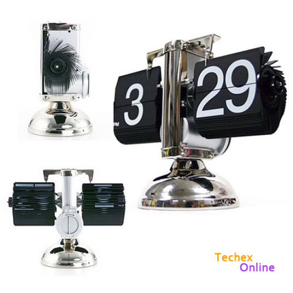 Modern Scale Digital Auto Flip Single Stand Metal Desk Table Clock ...