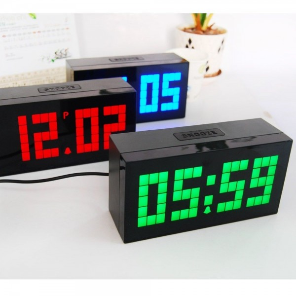 ... Large Big Jumbo Led Snooze Wall Desk Alarm Calendar Home Modern Clock