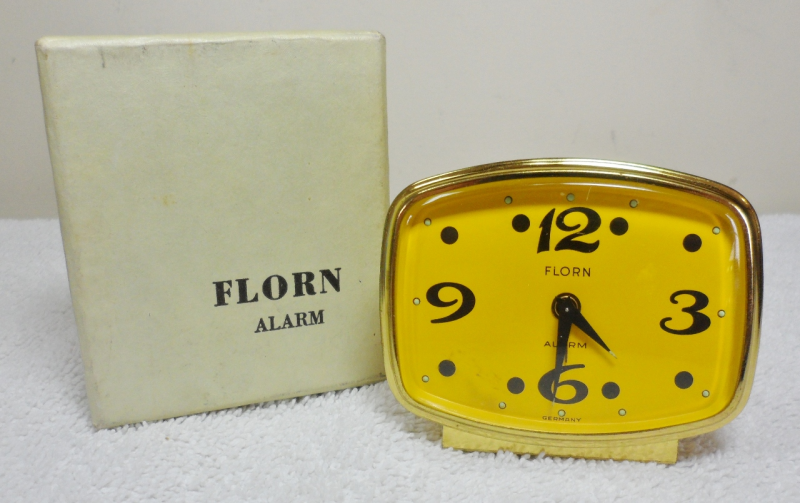 Vintage Mid Century Modern Yellow Florn Desk Side Table Alarm Clock ...