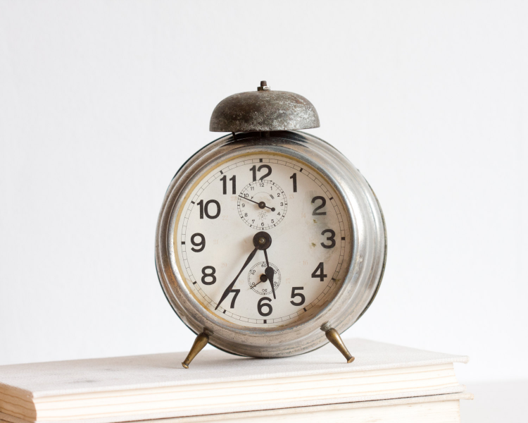 Alarm Clock, Antique German Desk Clock, Retro Clock, Gray Neutral ...