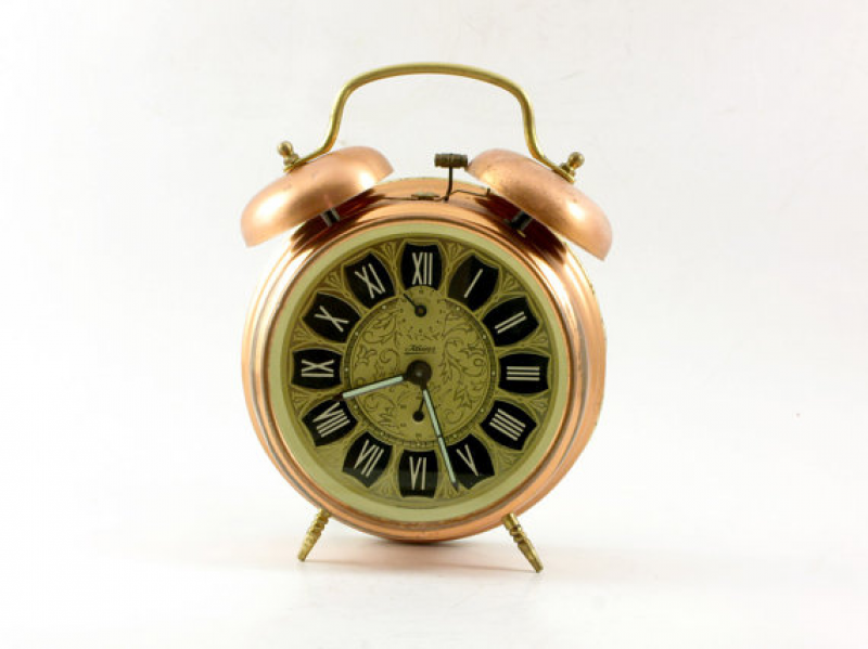 ... Alarm Clock Large Copper Color- Table clock- desk clock-Retro clock