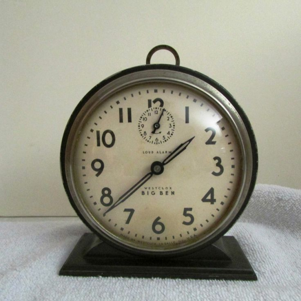 Antique Vintage Westclox Big Ben Wind Up Alarm Clock Portable Art Deco ...