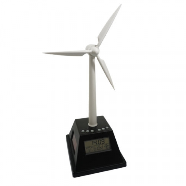 The Solar Power Spinning Wind Turbine Alarm Clock brings innovative ...
