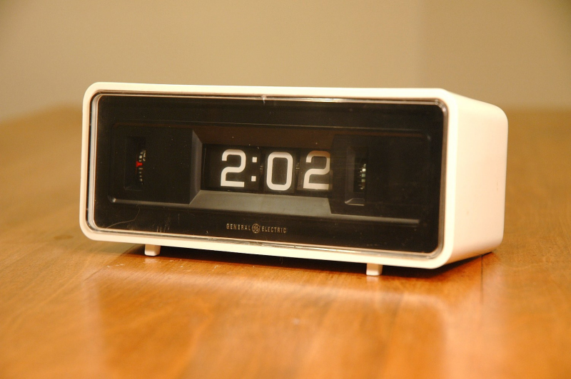 Mid Century Modern Flip Clock Space Age White by JunkHouse