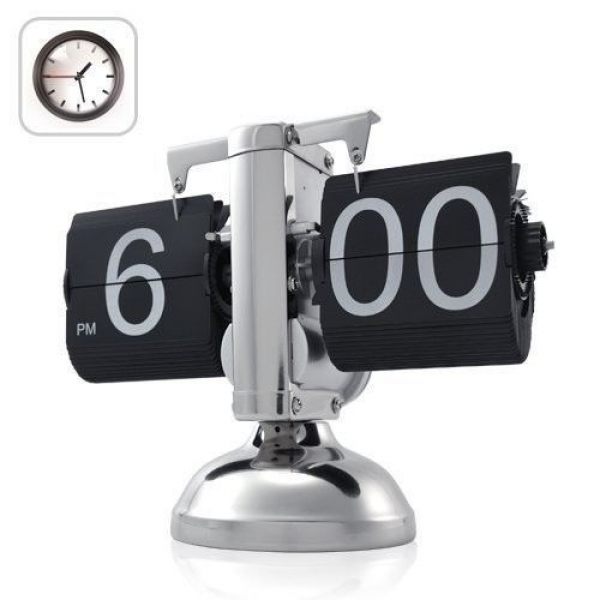 New Silver Free standing clock Retro Flip Down Clock - Internal Gear