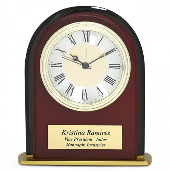 ... Clocks > Arched Mahogany Finish & Black Glass Personalized Desk Clock