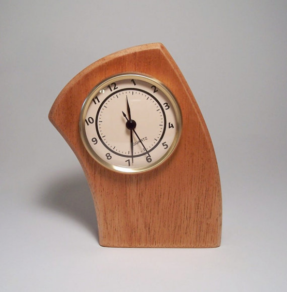 Curved Leaning Desk Clock Made of Mahogany by JillianJonesEnt