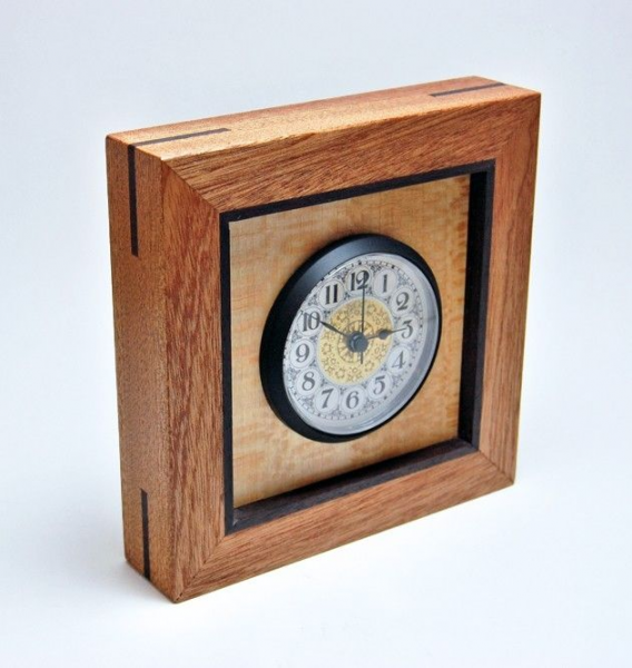 Custom Made Mahogany, Sycamore, And Rosewood Desk/Mantel Clock by ...