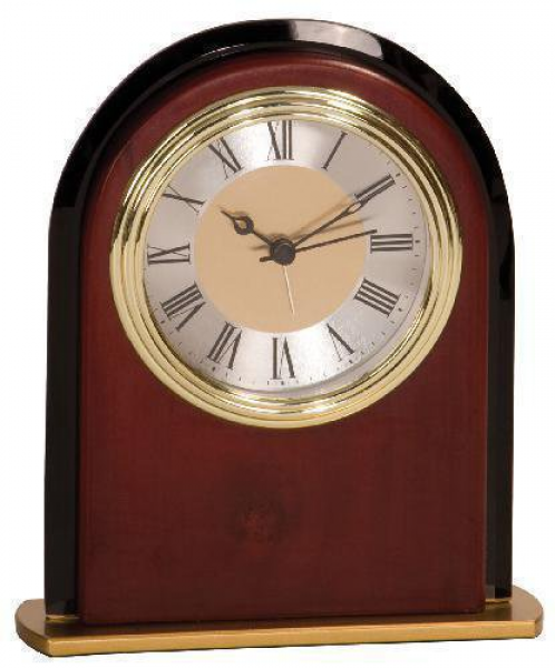 Mahogany Finish Arch Clock Award Desk Clocks