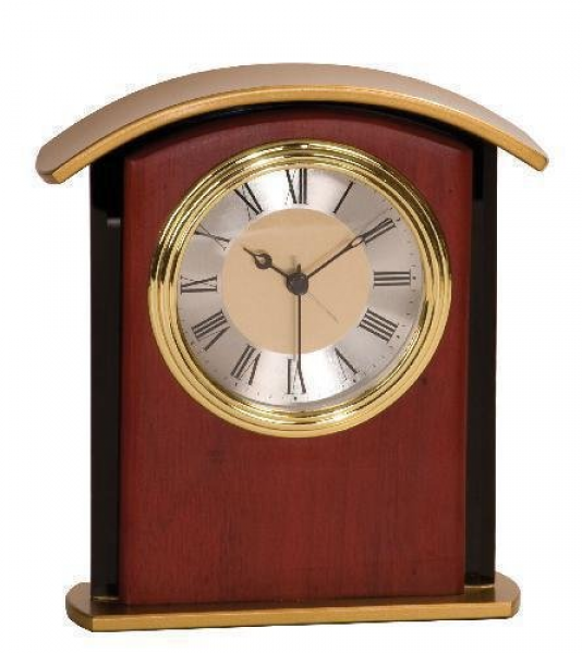 Mahogany Finish Gold Top Clock Award Desk Clocks