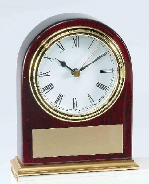 Piano Finish Mahogany Slanted Arch Clock Desk Clocks
