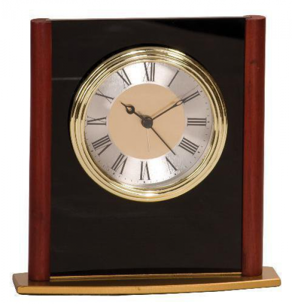 ... Rosewood Piano Finish Arch Desk Clock Award Personalized Desk Clock