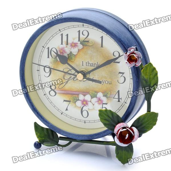 Elegant 4.75 Non-Ticking Silent Table Desk Clock - Dark Blue (1 x AA ...